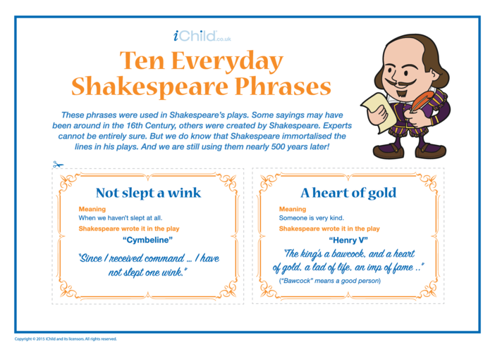 Thumbnail image for the Everyday Shakespeare Phrases Flash Cards activity.