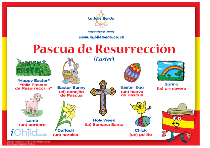 Thumbnail image for the Easter Words in Spanish activity.