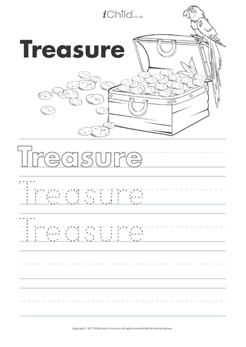 Thumbnail image for the Treasure Handwriting Practice Sheet activity.