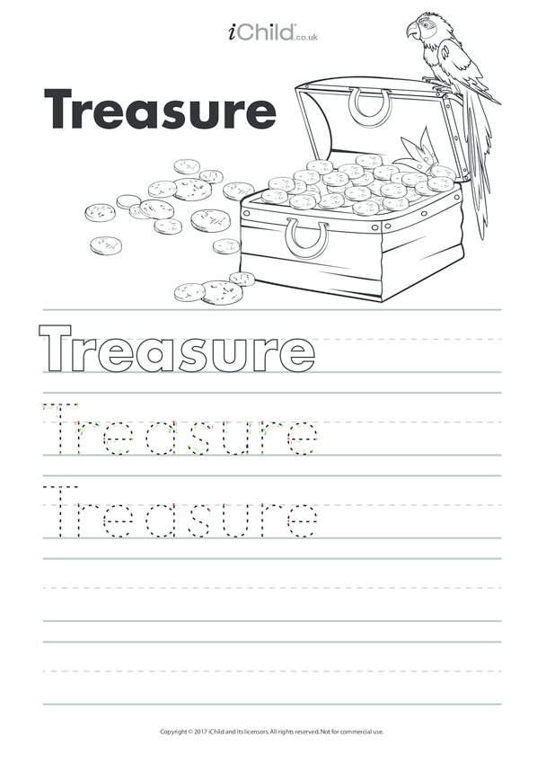 Treasure Handwriting Practice Sheet