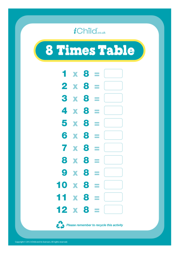(08) Eight Times Table Question Sheet