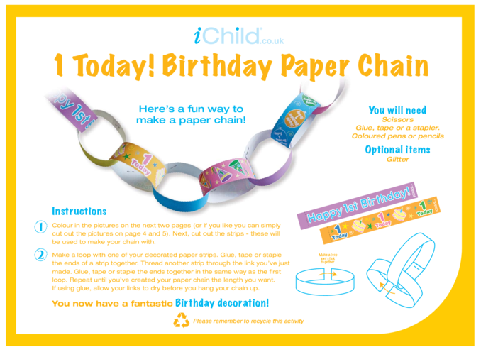Thumbnail image for the Birthday Party Decoration Paper Chain for 1 year old 1st birthday activity.