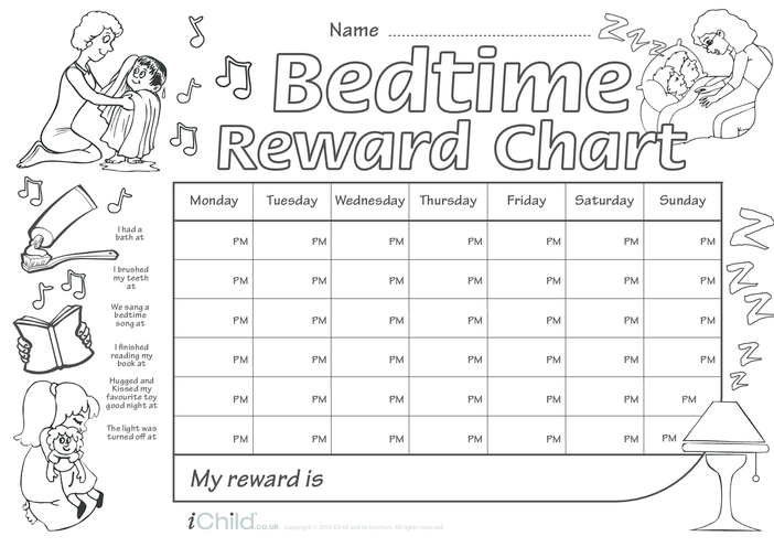 Thumbnail image for the Bedtime Reward Chart (black & white) activity.