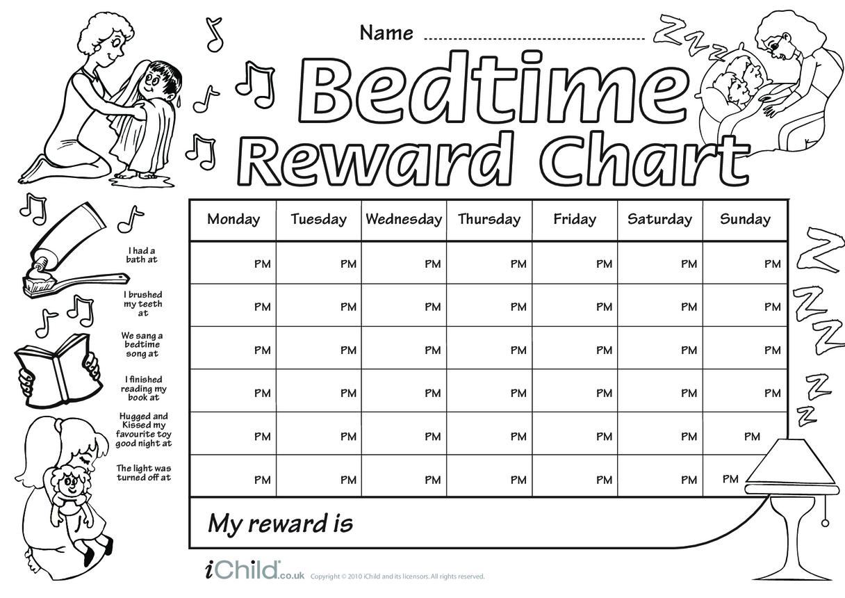 Bedtime Reward Chart (black & white)