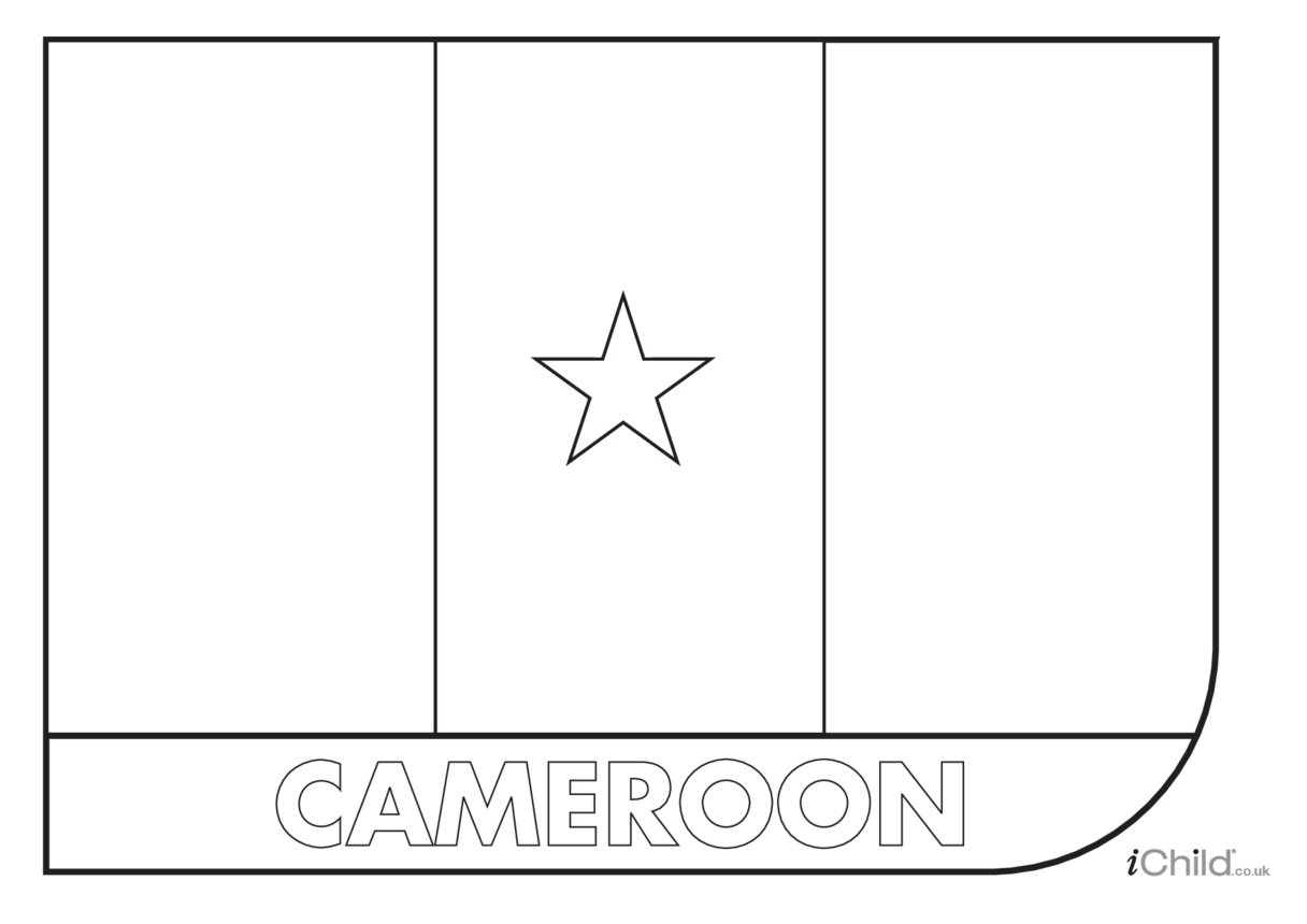 Cameroon Flag Colouring in Picture (flag of Cameroon)