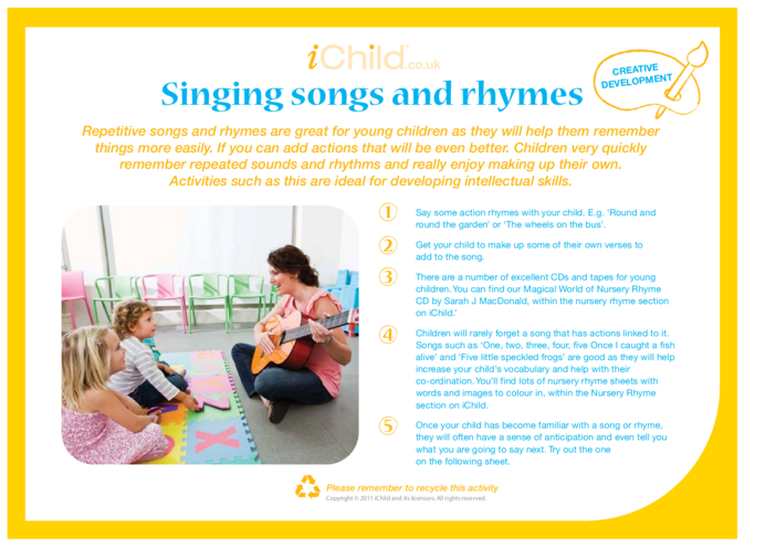 Thumbnail image for the Singing Songs & Rhymes activity.