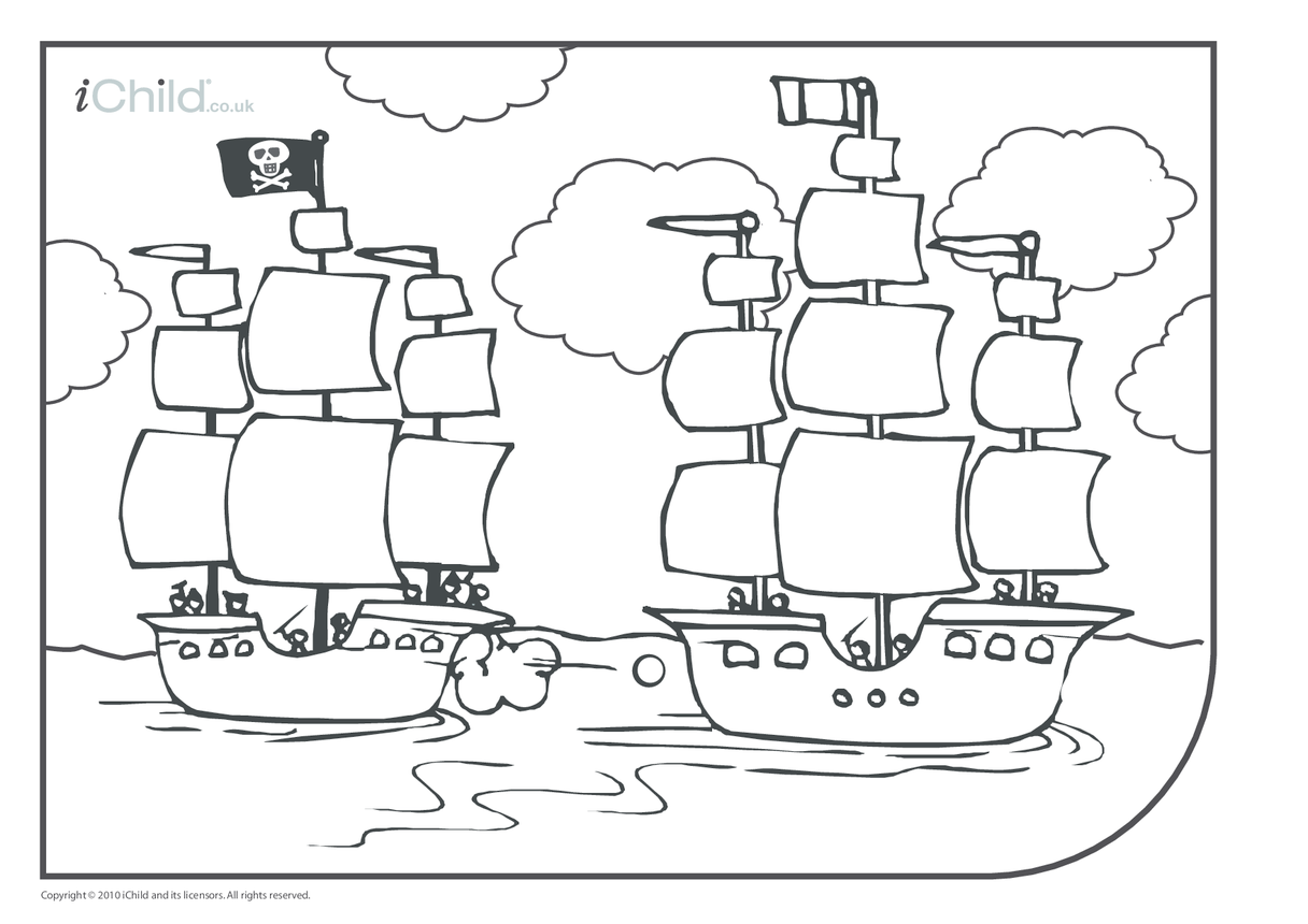 Pirate Ship Colouring in picture