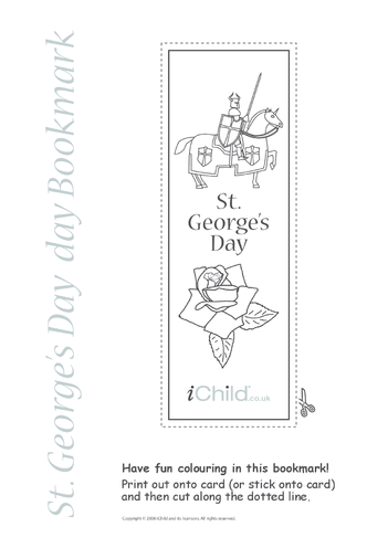 Thumbnail image for the St. George's Day Bookmark activity.