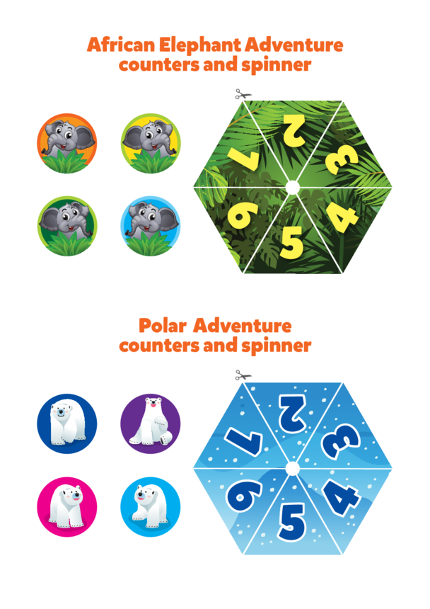 Primary 6) Polar & African Adventure- Counters & Spinners