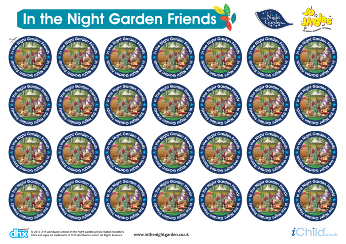 Thumbnail image for the Sticker Sheet: In the Night Garden Friends activity.