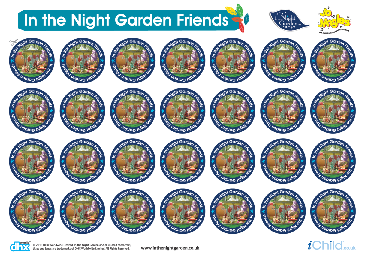 Sticker Sheet: In the Night Garden Friends