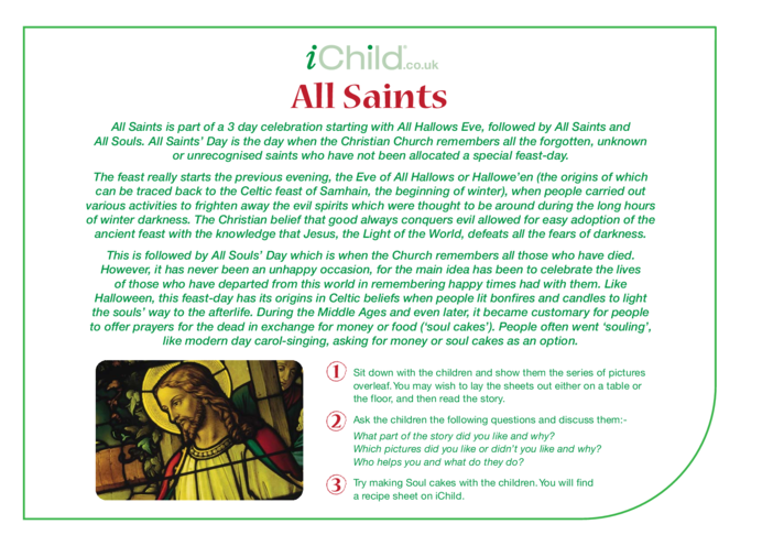 Thumbnail image for the All Saints' Day Religious Festival Story activity.
