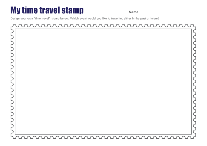 Thumbnail image for the Primary 1) My Time Travel Stamp Drawing Template activity.