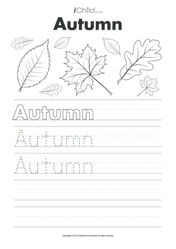 Thumbnail image for the Autumn Handwrting Practice Sheet activity.