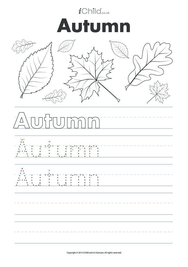 Autumn Handwrting Practice Sheet