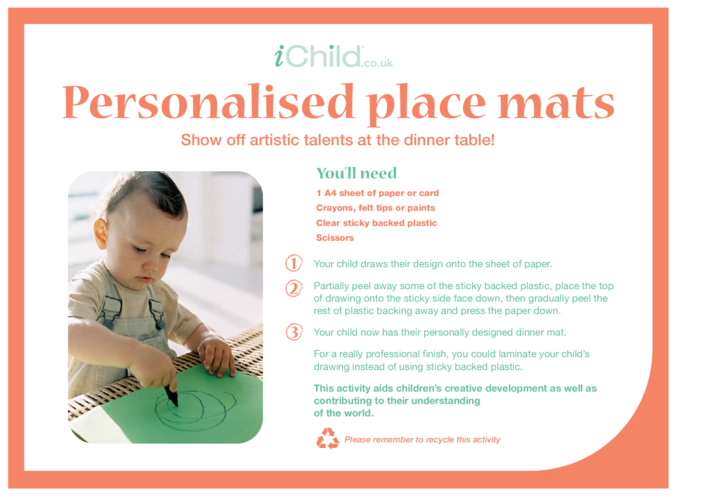 Thumbnail image for the Personalised Placemats activity.