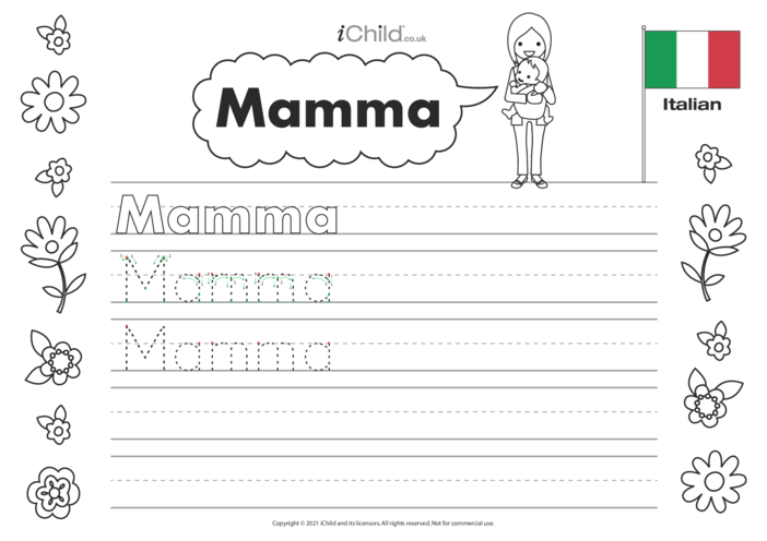 Thumbnail image for the Mummy in Italian Handwriting Practice Sheet activity.