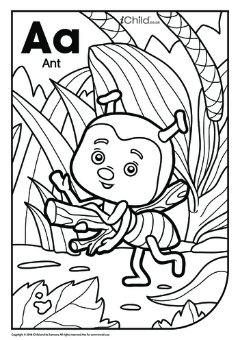 Thumbnail image for the A is for Ant Colouring in Picture activity.