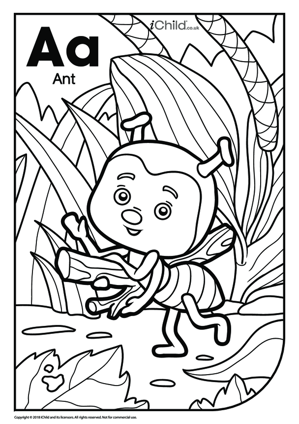 A is for Ant Colouring in Picture