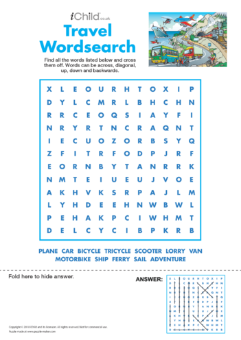 Thumbnail image for the Travel Wordsearch activity.