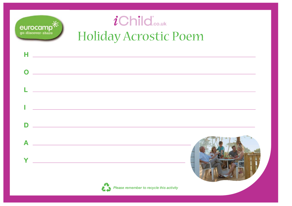 Holiday Acrostic Poem Template