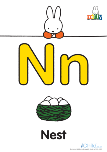 Thumbnail image for the N: Miffy's Letter Nn (less ink) activity.
