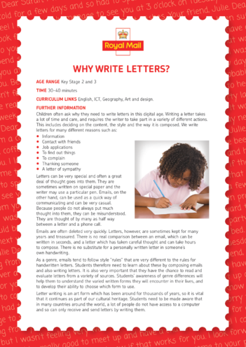 Thumbnail image for the Lesson Plan 1: Why Write Letters? activity.