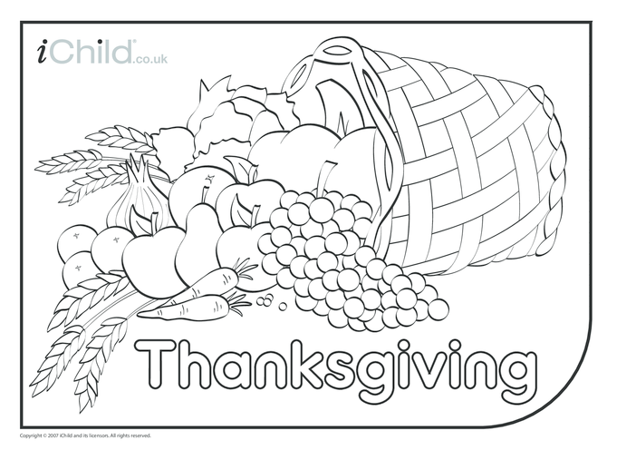 Thumbnail image for the Thanksgiving Basket Colouring in Picture activity.