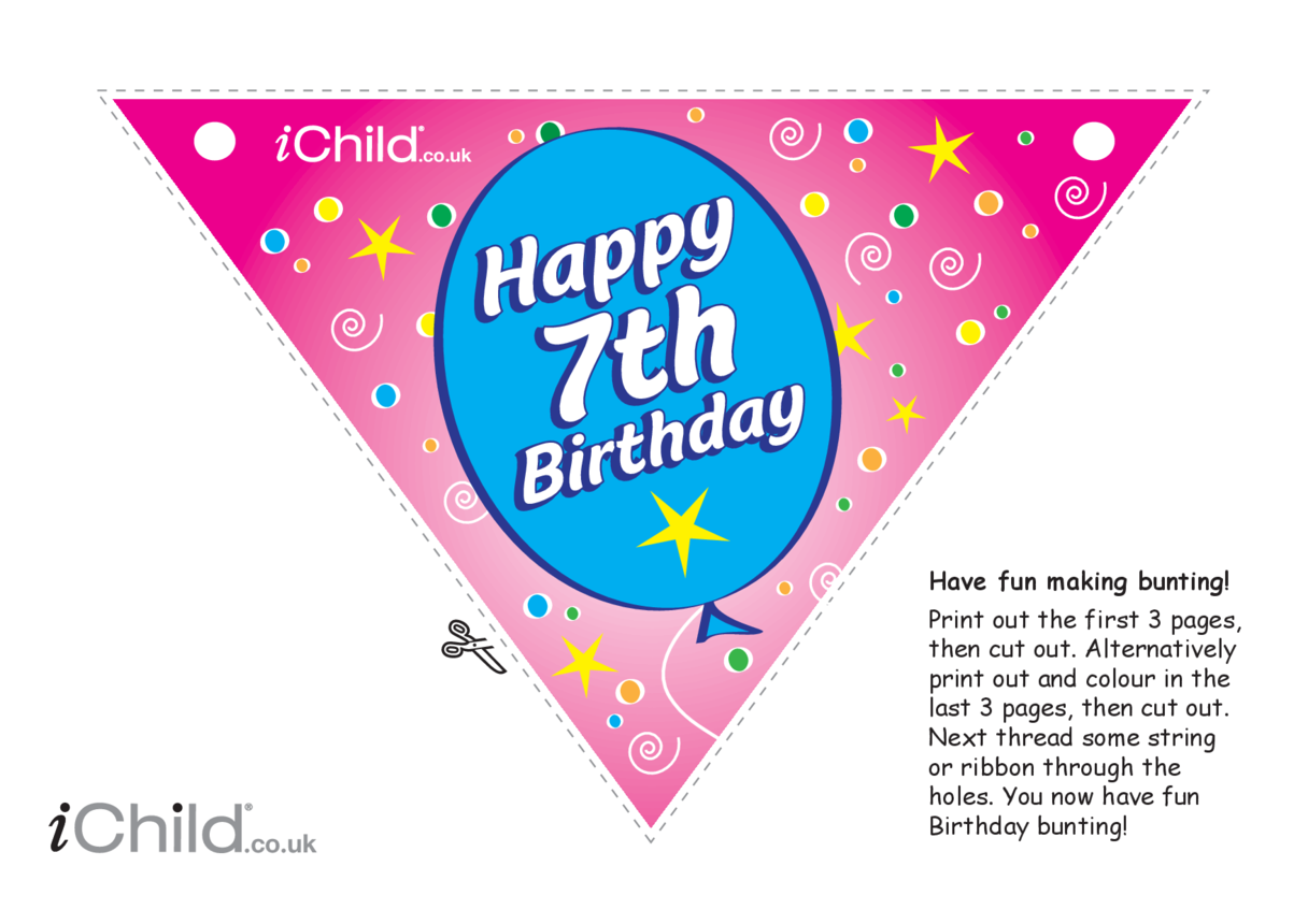 Birthday Party Bunting for 7 year old 7th birthday