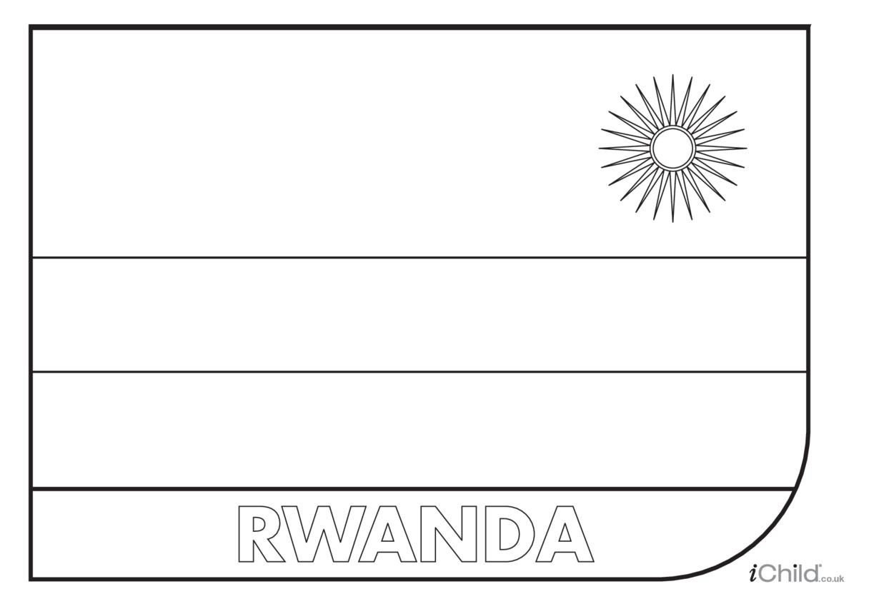 Rwanda Flag Colouring in Picture (flag of Rwanda)