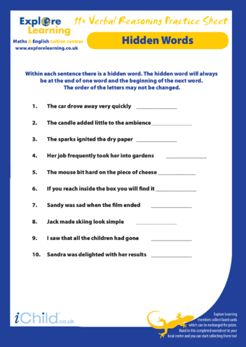 Thumbnail image for the 11 Plus Practice Paper: Verbal Reasoning - Hidden Words activity.