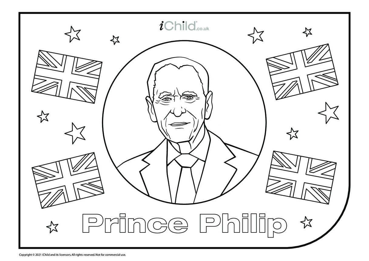Prince Philp Colouring in Picture