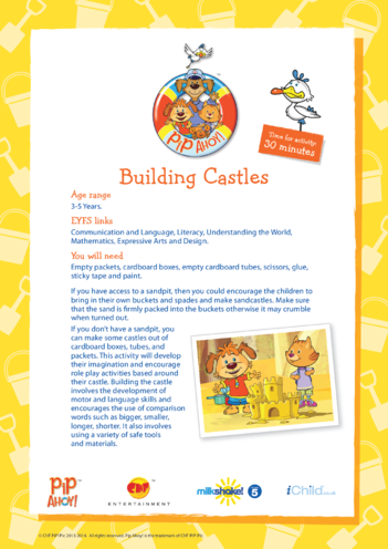 Thumbnail image for the EYFS Lesson Plan: Building Castles (Pip Ahoy!) activity.