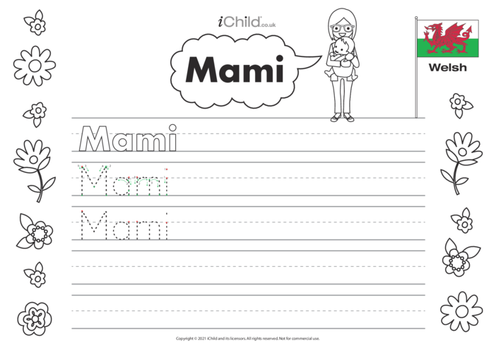 Thumbnail image for the Mummy in Welsh Handwriting Practice Sheet activity.