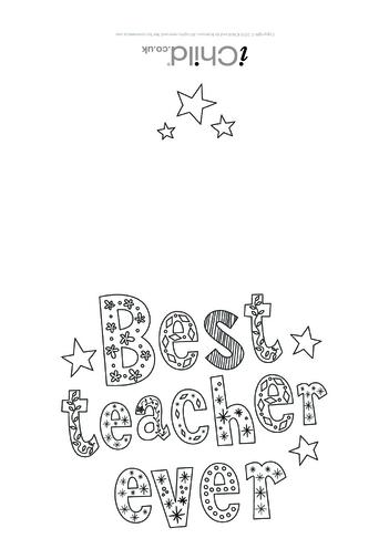 Thumbnail image for the Best Teacher Ever Card (black & white) activity.