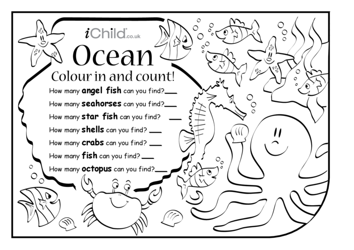 Thumbnail image for the Colour in & Count - Ocean activity.