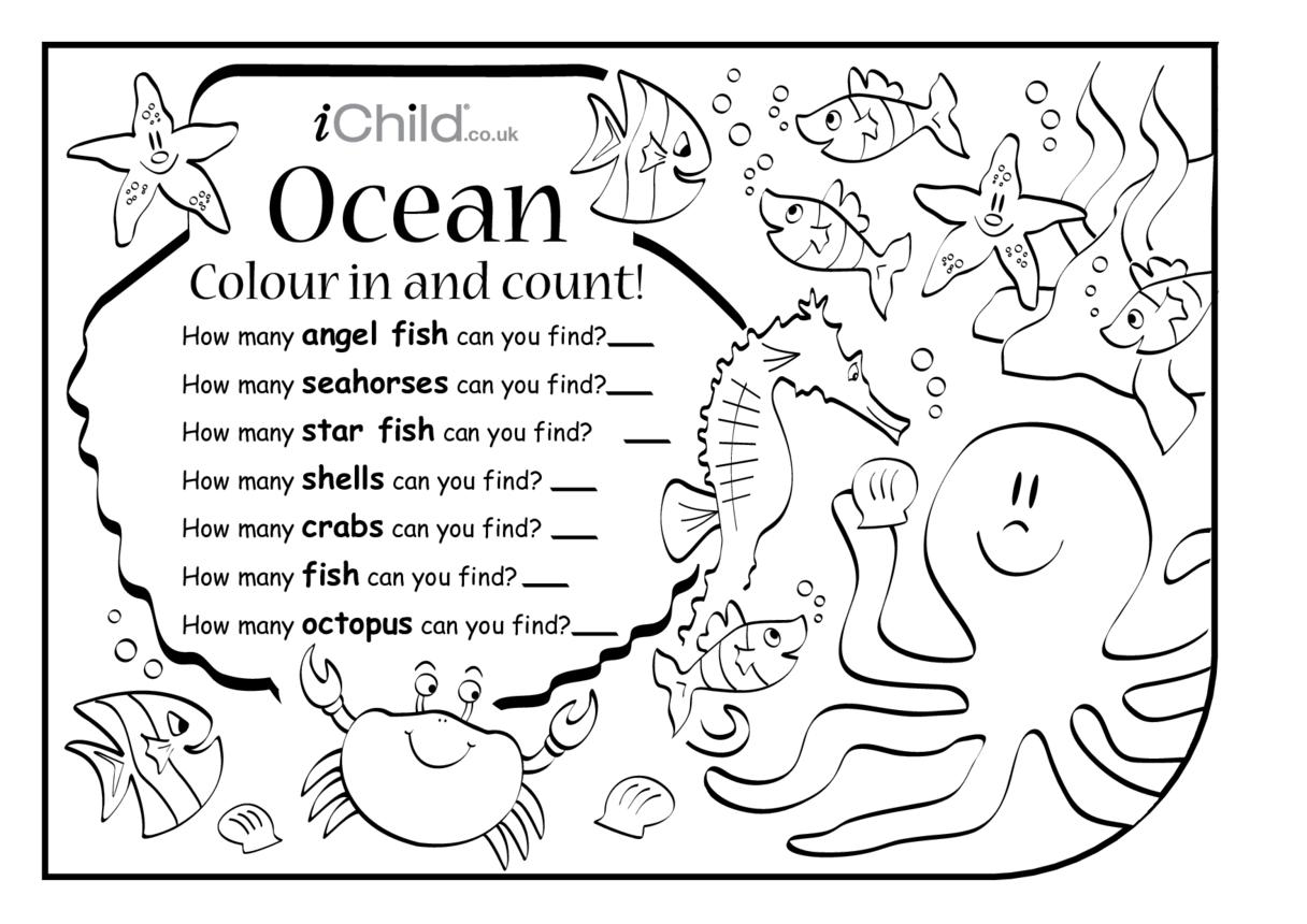 Colour in & Count - Ocean