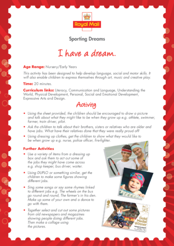Thumbnail image for the Early Years 1) I Have a Dream Lesson Plan activity.