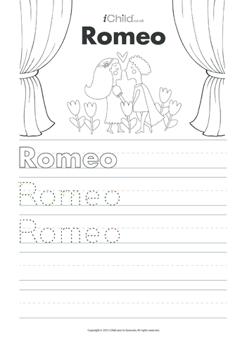 Thumbnail image for the Romeo Handwriting Practice Sheet activity.