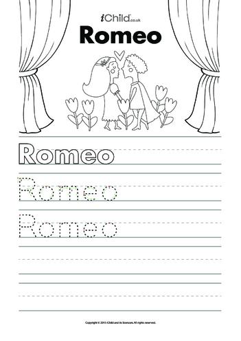 Thumbnail image for the Romeo Handwriting Practice Sheet activity.