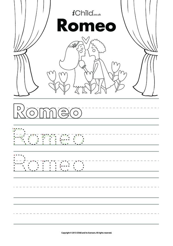 Romeo Handwriting Practice Sheet