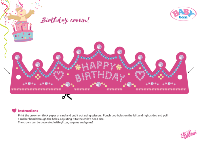 Thumbnail image for the 2021 BABY born Birthday Crown Craft activity.