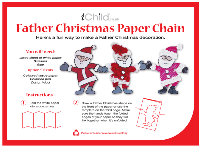 Thumbnail image for the Father Christmas Paper Chain activity.