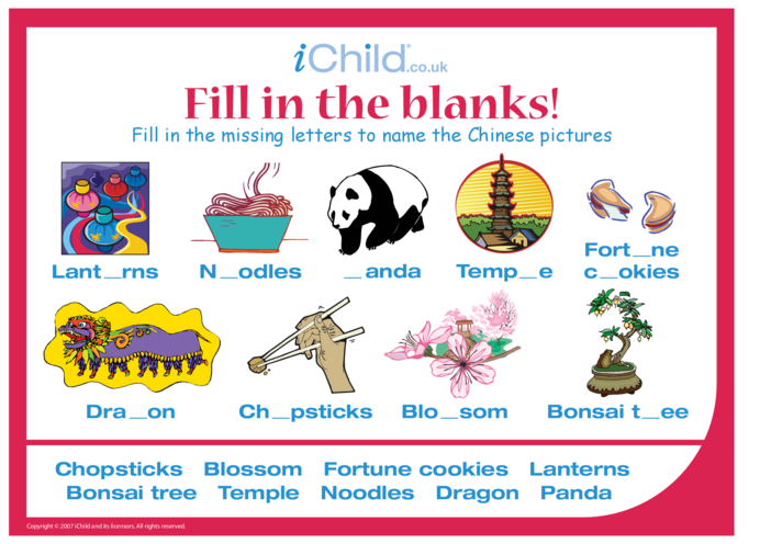 Thumbnail image for the Fill in the Blanks - China activity.