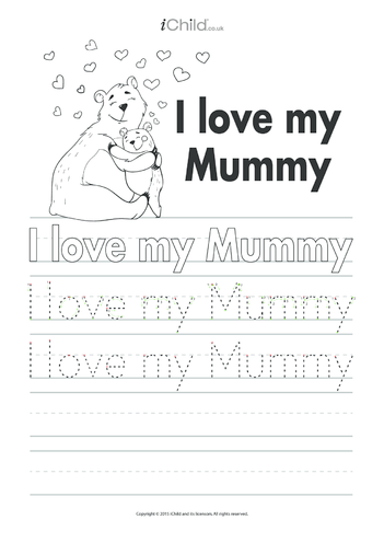 Thumbnail image for the I Love My Mummy Handwriting Practice Sheet activity.