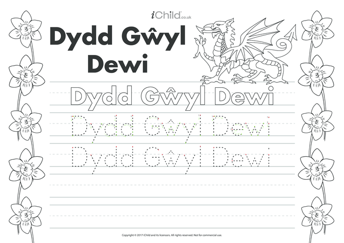 Thumbnail image for the Dydd Gwyl Dewi (St. David's Day) Handwriting Practice Sheet activity.