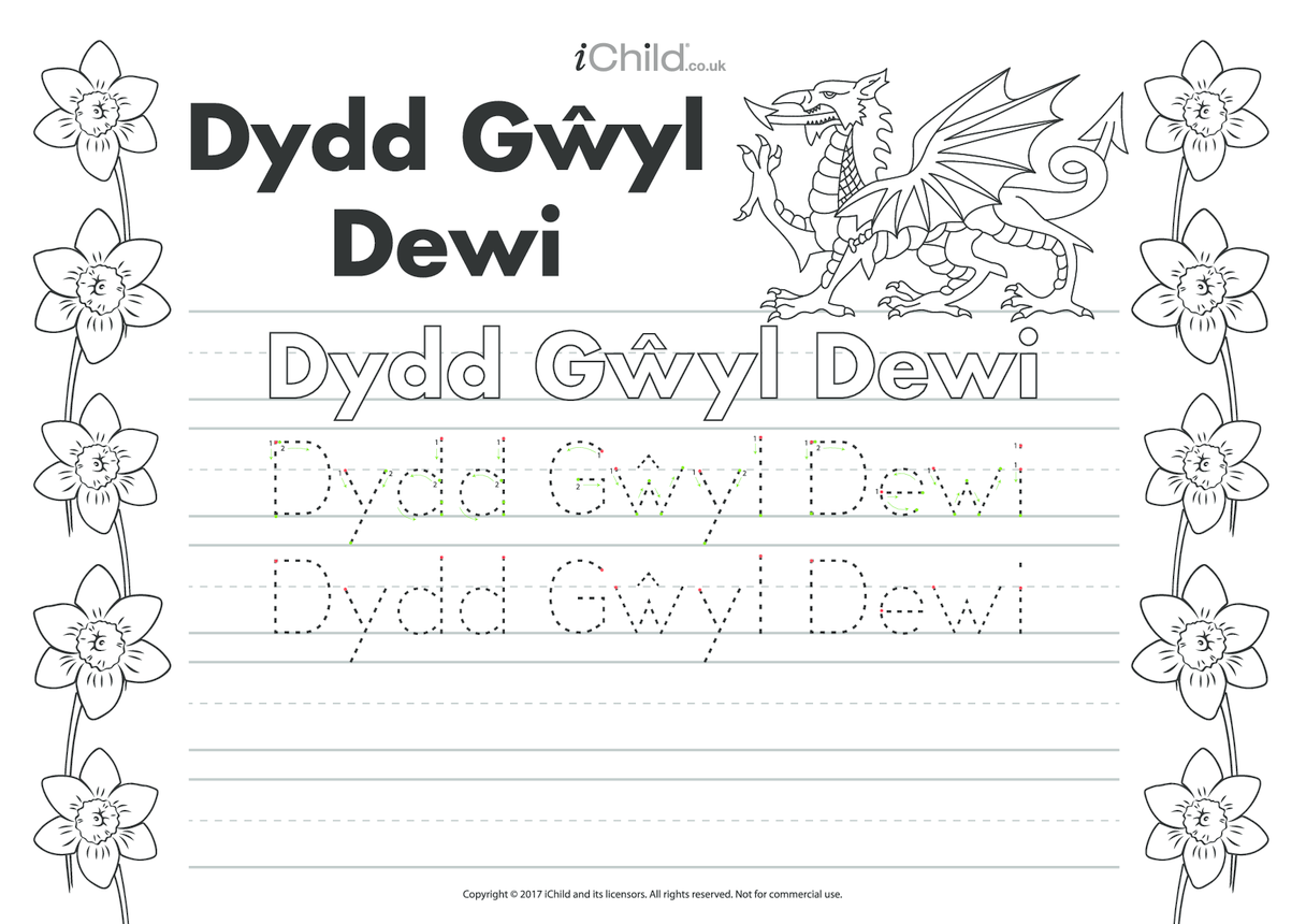Dydd Gwyl Dewi (St. David's Day) Handwriting Practice Sheet