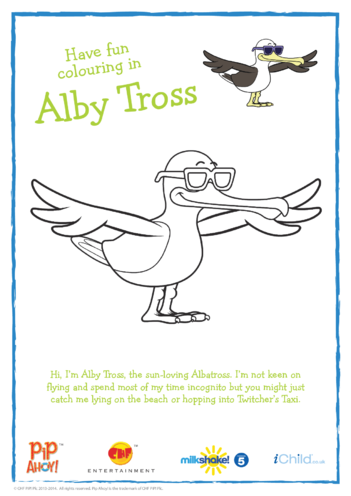 Thumbnail image for the Alby Tross Colouring In Picture Spread Wings (Pip Ahoy!) activity.