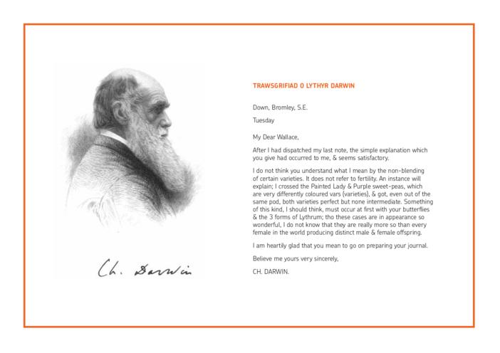 Thumbnail image for the Welsh Translation - Lesson Plan 2: Translation of Darwin Letter activity.