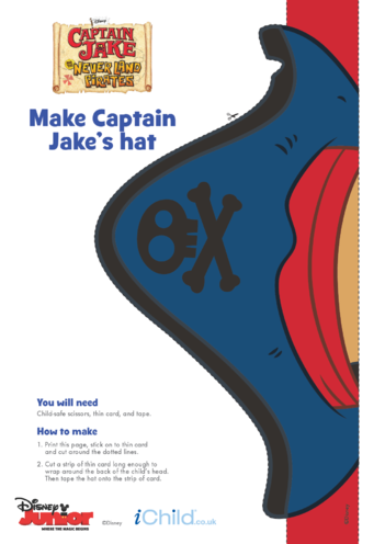 Thumbnail image for the Captain Jake and the Never Land Pirates Hat Craft (Colour)- Disney Junior activity.
